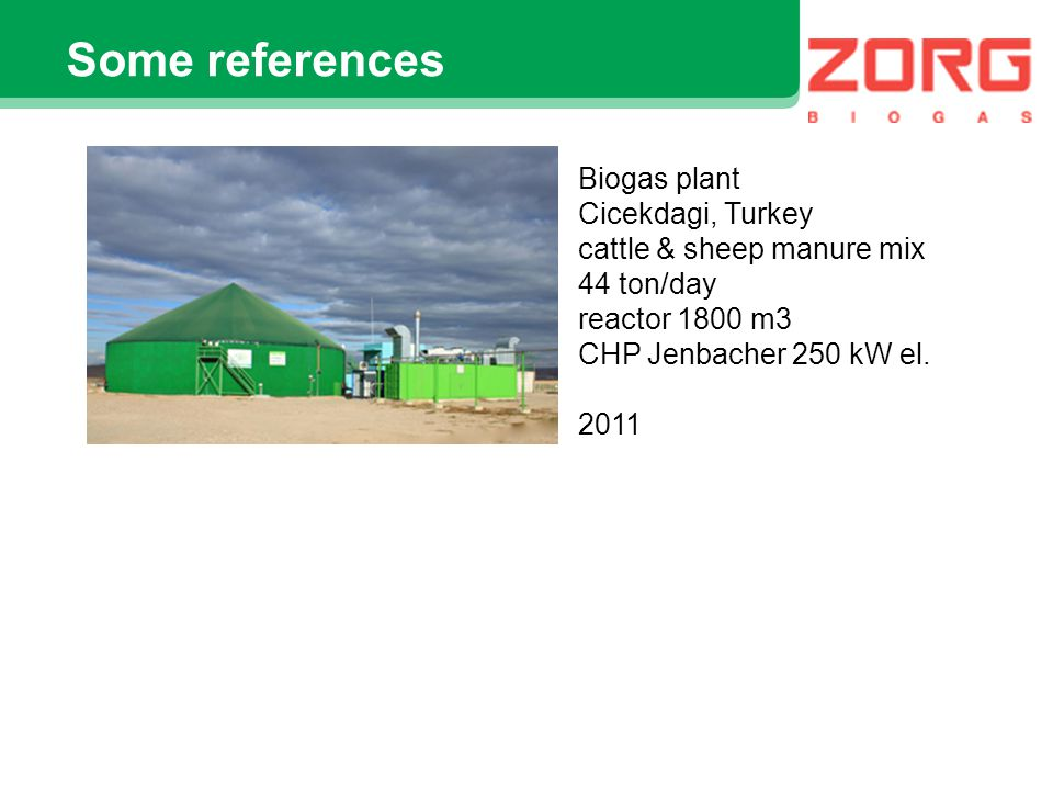 Some references Biogas plant Cicekdagi, Turkey cattle & sheep manure mix 44 ton/day reactor 1800 m3 CHP Jenbacher 250 kW el. 2011