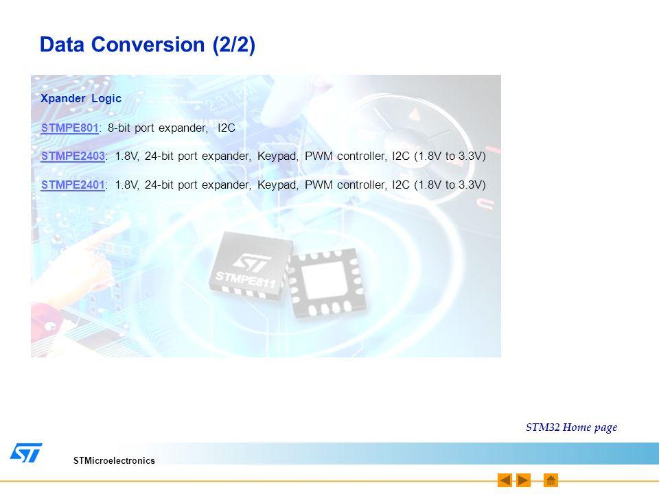 STMicroelectronics Data Conversion (2/2) Xpander Logic STMPE801STMPE801: 8-bit port expander, I2C STMPE2403STMPE2403: 1.8V, 24-bit port expander, Keyp