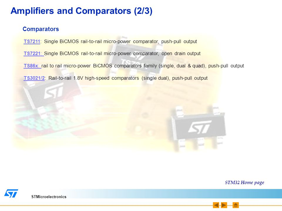 STMicroelectronics Sensors & MEMS (1/2) Capacitive Touch Sensor STMPE821STMPE821: 8 channel cap-sensing, I2C STMPE1208STMPE1208: 12 cap-sensing channel + 12 GPIO, I2C STMPE16/24M31STMPE16/24M31: 16/24 High Sensitivity cap-sensing channel +16 PWM + 16 GPIO Resistive and Touch Screen Controller STMPE811STMPE811: resistive touch screen controller with 8-bit port expander, 12bit ADC, I2C Temperature sensor The STM32 ARM® Cortex™-M3 has an internal temperature sensor, which generate a voltage proportional to the variation in temperature.
