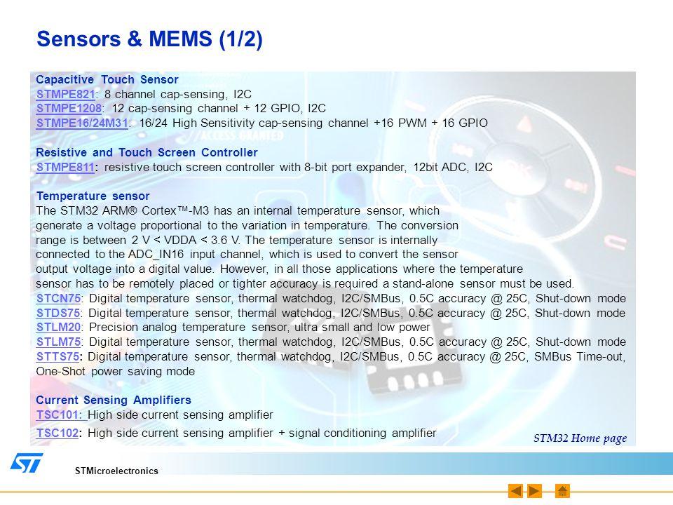 STMicroelectronics Sensors & MEMS (1/2) Capacitive Touch Sensor STMPE821STMPE821: 8 channel cap-sensing, I2C STMPE1208STMPE1208: 12 cap-sensing channe