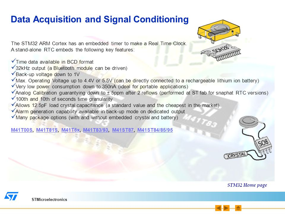 STMicroelectronics Data Acquisition and Signal Conditioning The STM32 ARM Cortex has an embedded timer to make a Real Time Clock. A stand-alone RTC em
