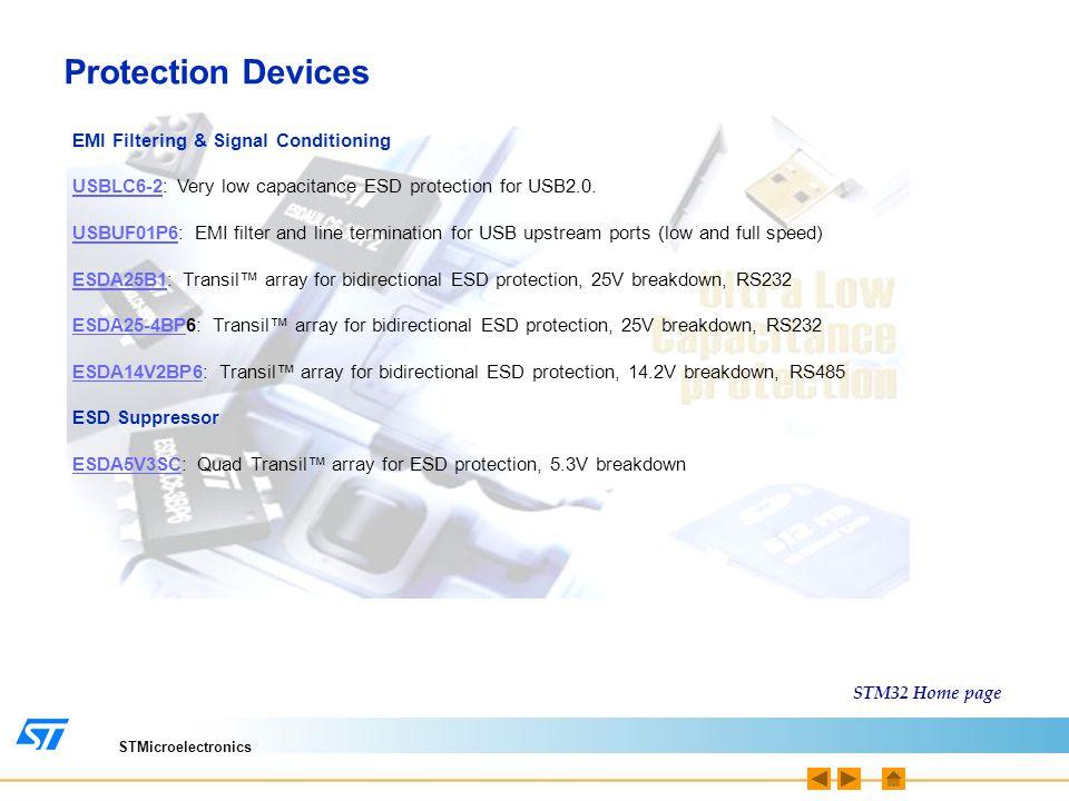 STMicroelectronics Memories I²C M24xxxM24xxx: Serial I²C EEPROM, 1Kbit to 1Mbit, 1.8V to 5.5V SPI M95xxxM95xxx: Serial I²C EEPROM, 1Kbit to 1Mbit, 1.8V to 5.5V STM32 Home page