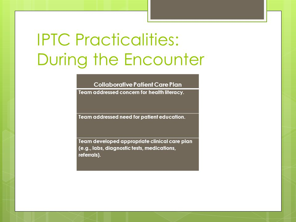 IPTC Practicalities: During the Encounter Collaborative Patient Care Plan Team addressed concern for health literacy.