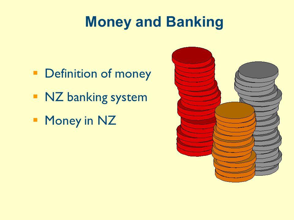LIABILITIES ($billion at Mar-99) $2 billion NZD funding (deposits)100notes & coins held by public Transaction accounts (net)+12 14= M1 Other call accounts (net)+27 41= M2 Other deposits (net)+52 93= M3 Source: www.rbnz.govt.nz or RBNZ Financial Statistics Definitions of Money Supply