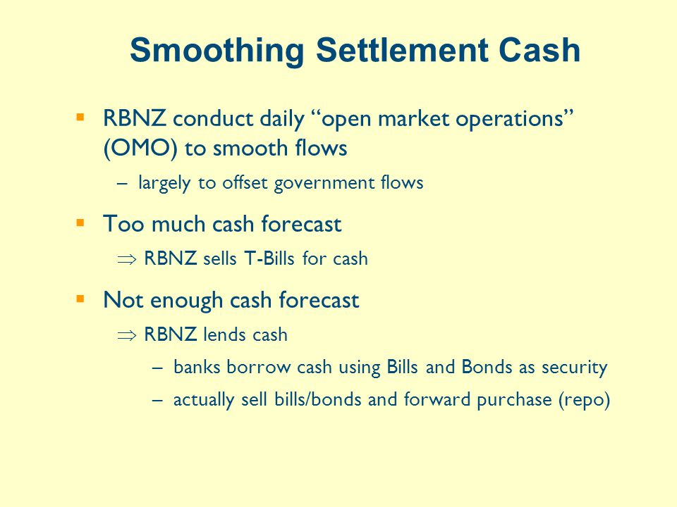 Smoothing Settlement Cash  RBNZ conduct daily open market operations (OMO) to smooth flows –largely to offset government flows  Too much cash forecast  RBNZ sells T-Bills for cash  Not enough cash forecast  RBNZ lends cash –banks borrow cash using Bills and Bonds as security –actually sell bills/bonds and forward purchase (repo)
