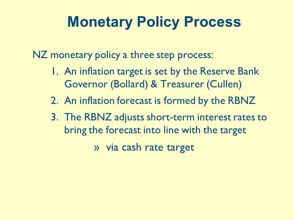 Monetary Policy Process NZ monetary policy a three step process: 1.An inflation target is set by the Reserve Bank Governor (Bollard) & Treasurer (Cullen) 2.An inflation forecast is formed by the RBNZ 3.The RBNZ adjusts short-term interest rates to bring the forecast into line with the target »via cash rate target