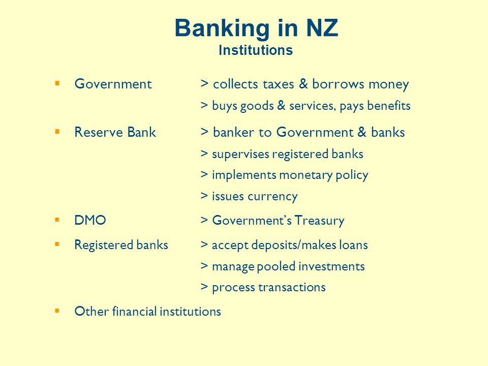 M3 Financial Institutions Owners, assets ($b) and S&P credit ratings 1 ANZ NationalANZ, Aus87AA- 2 WestpacTrust*Westpac, Aus48AA- 3 BNZNAB, Aus46AA- 4 ASB BankCBA, Aus42AA- 5 Hong Kong*HK Shanghai6AA- 6 Deutsche Bank*DB, Germany6AA- TSBNZ trust3BBB- Others (3 banks/sub & 2 non-bank)13 TOTAL (at Dec-05)251 * Branches Note: Kiwibank ($2.5b) is a bank but not within M3 survey (yet) Source: www.rbnz.govt.nz and www.kpmg.co.nz