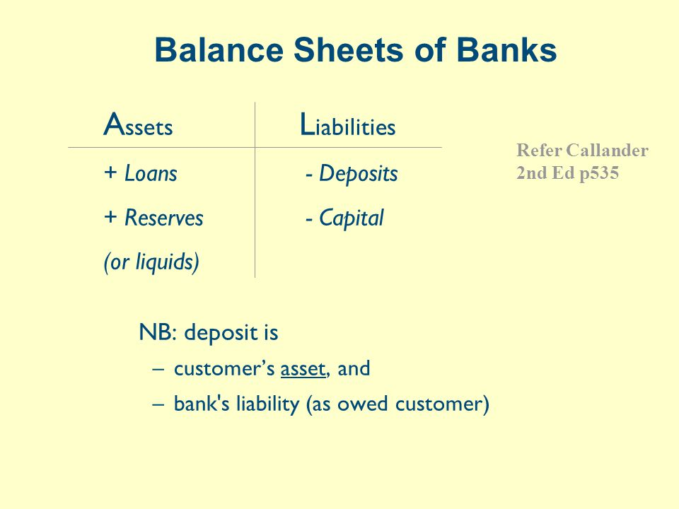 NZ M3 Balance Sheet ASSETS (Mar-99 total=$143b)$b NZD claims (lending)122 Non-NZD claims5 NZ Government securities7 Claims on RBNZ/notes & coins1 Other assets9 LIABILITIES NZD funding (deposits)100 Non-NZD funding28 Capital8 Other liabilities7 Source: www.rbnz.govt.nz or RBNZ Financial Statistics