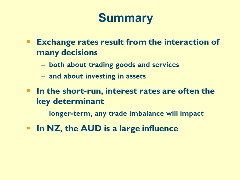 Summary  Exchange rates result from the interaction of many decisions –both about trading goods and services –and about investing in assets  In the short-run, interest rates are often the key determinant –longer-term, any trade imbalance will impact  In NZ, the AUD is a large influence