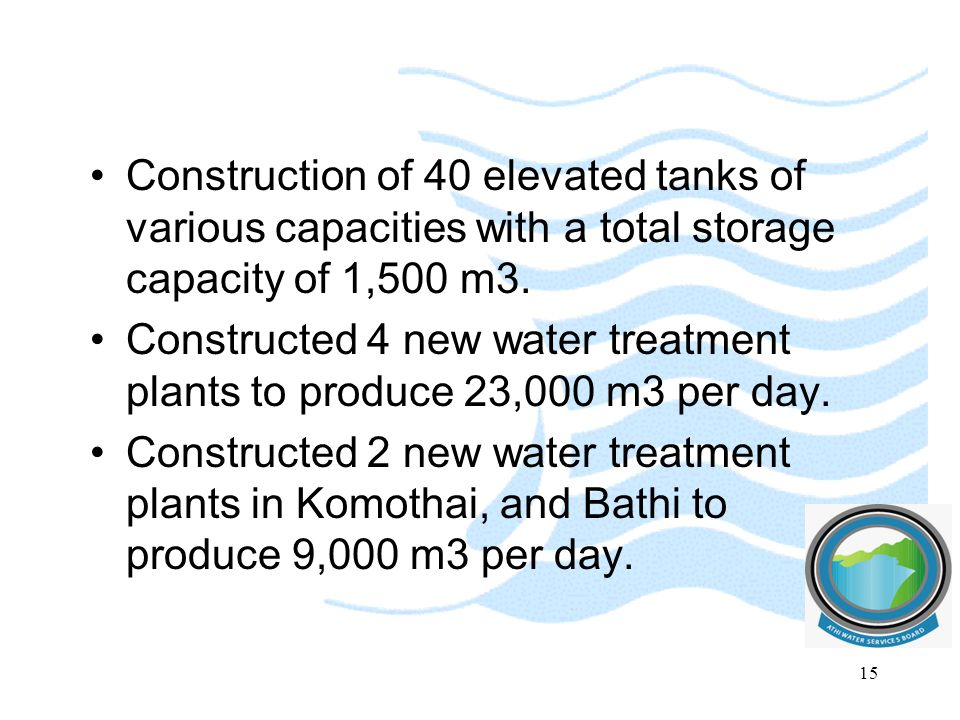 Construction of 40 elevated tanks of various capacities with a total storage capacity of 1,500 m3. Constructed 4 new water treatment plants to produce