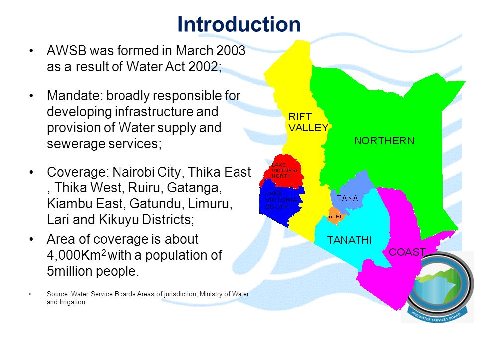 Historical background – Nairobi Supply The initial water supply facility for Nairobi was constructed in 1899 abstracting water from Nairobi river in the Athi river catchment.