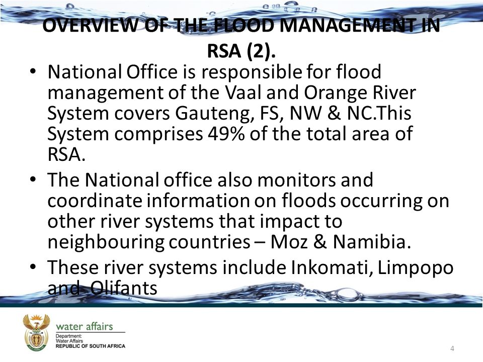 AREAS AFFECTED BY FLOODS (1) KwaZulu Natal 5 Municipality & Specific Area Impact on water supply Proposed Intervention & estimate costs uThukela District Municipality Bergville submerged the water abstraction pumping station Tankering & an est.cost R900 000 is required