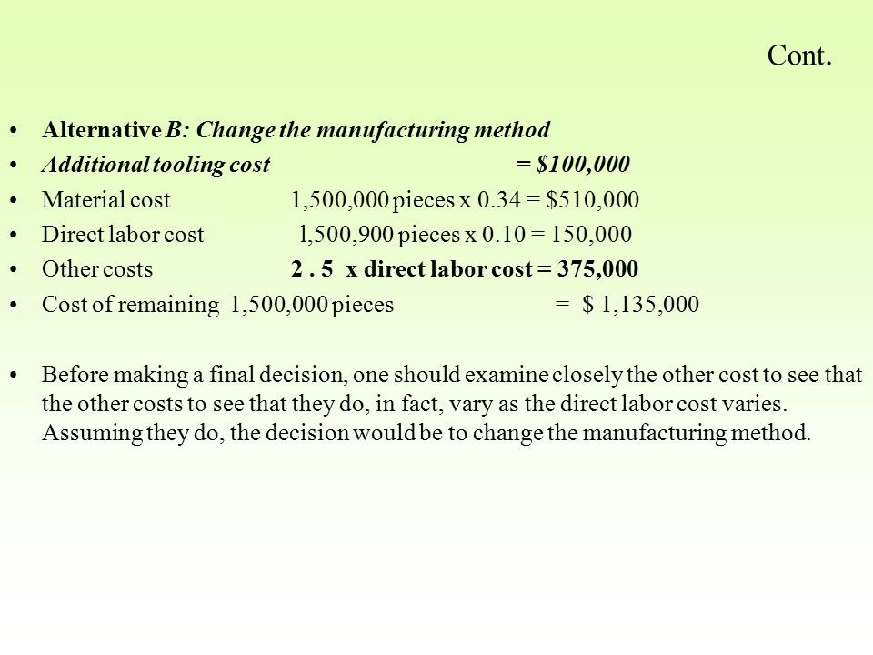 Cont. Alternative B: Change the manufacturing method Additional tooling cost = $100,000 Material cost 1,500,000 pieces x 0.34 = $510,000 Direct labor