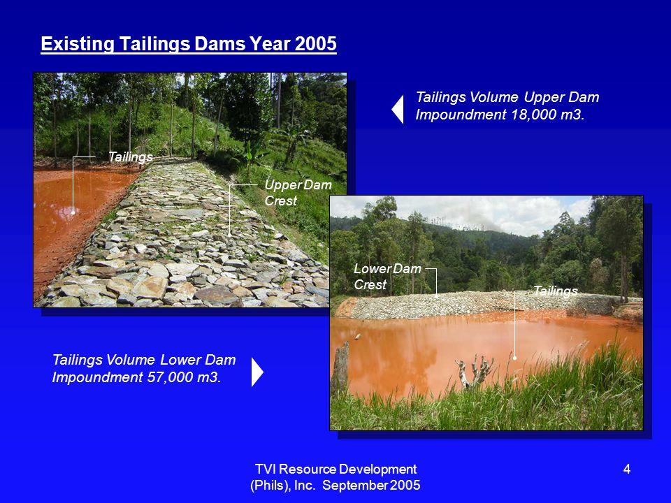 TVI Resource Development (Phils), Inc. September 2005 4 Existing Tailings Dams Year 2005 Upper Dam Crest Tailings Lower Dam Crest Tailings Volume Uppe