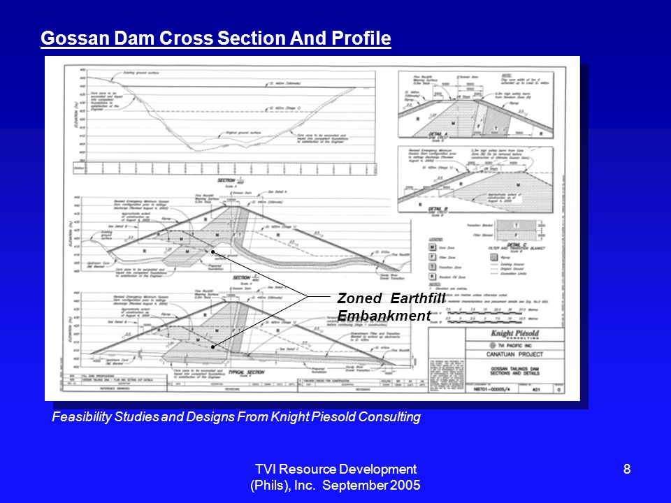 TVI Resource Development (Phils), Inc. September 2005 8 Gossan Dam Cross Section And Profile Zoned Earthfill Embankment Feasibility Studies and Design