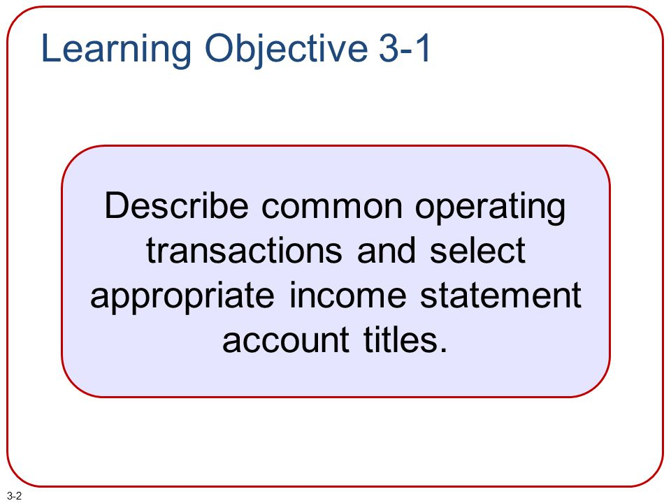 3-2 Learning Objective 3-1 Describe common operating transactions and select appropriate income statement account titles.