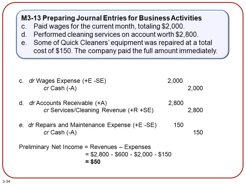 3-34 M3-13 Preparing Journal Entries for Business Activities c.Paid wages for the current month, totaling $2,000. d.Performed cleaning services on acc
