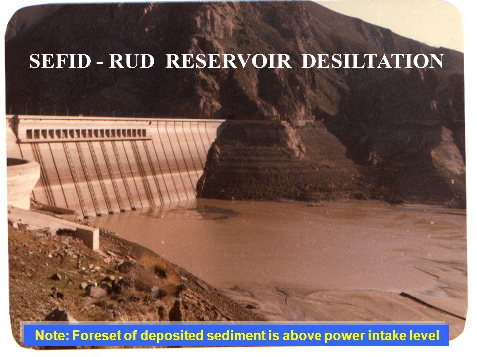 SEFID - RUD RESERVOIR DESILTATION Note: Foreset of deposited sediment is above power intake level