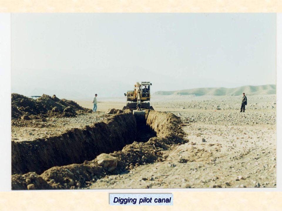 Digging pilot canal