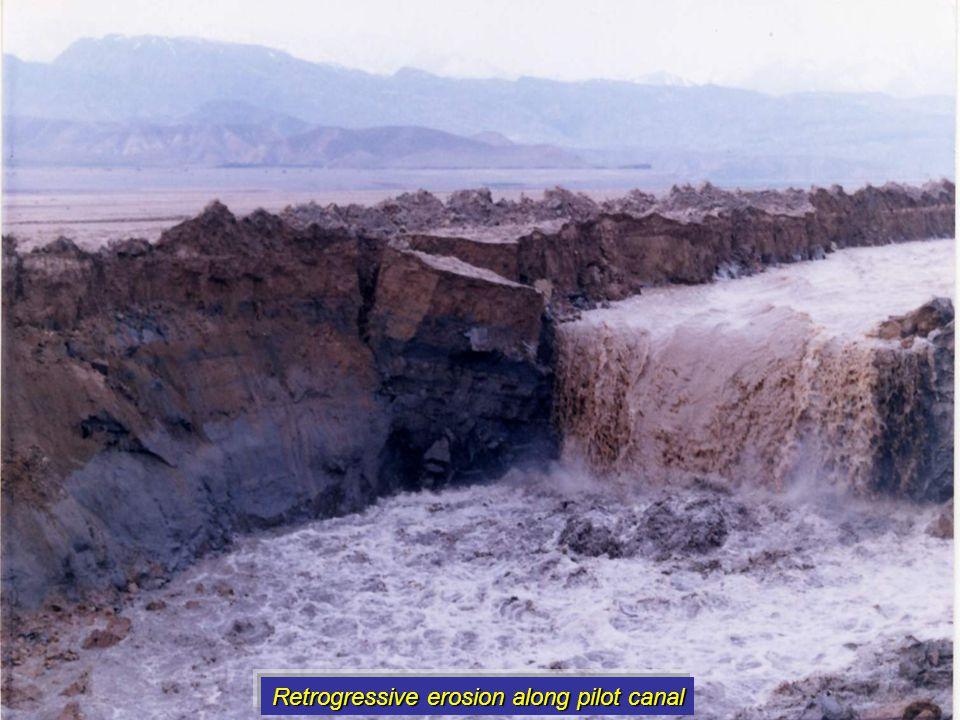 Retrogressive erosion along pilot canal