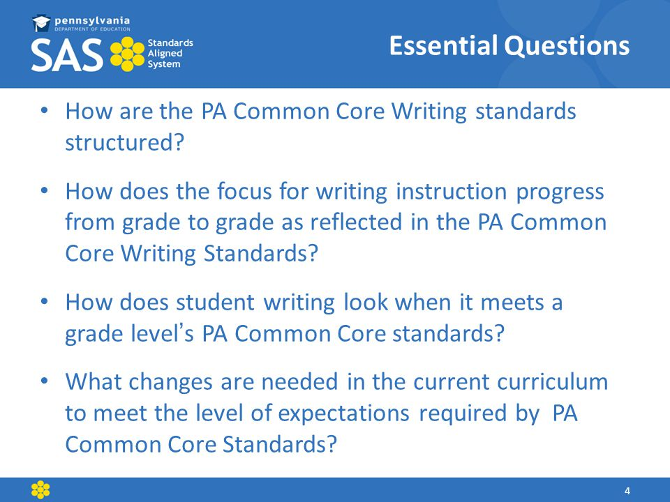 How are the PA Common Core Writing standards structured.