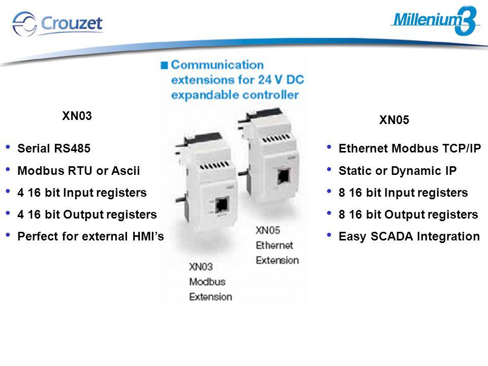Serial RS485 Modbus RTU or Ascii 4 16 bit Input registers 4 16 bit Output registers Perfect for external HMI's XN03 XN05 Ethernet Modbus TCP/IP Static or Dynamic IP 8 16 bit Input registers 8 16 bit Output registers Easy SCADA Integration
