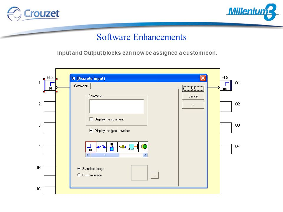 Software Enhancements Input and Output blocks can now be assigned a custom icon.