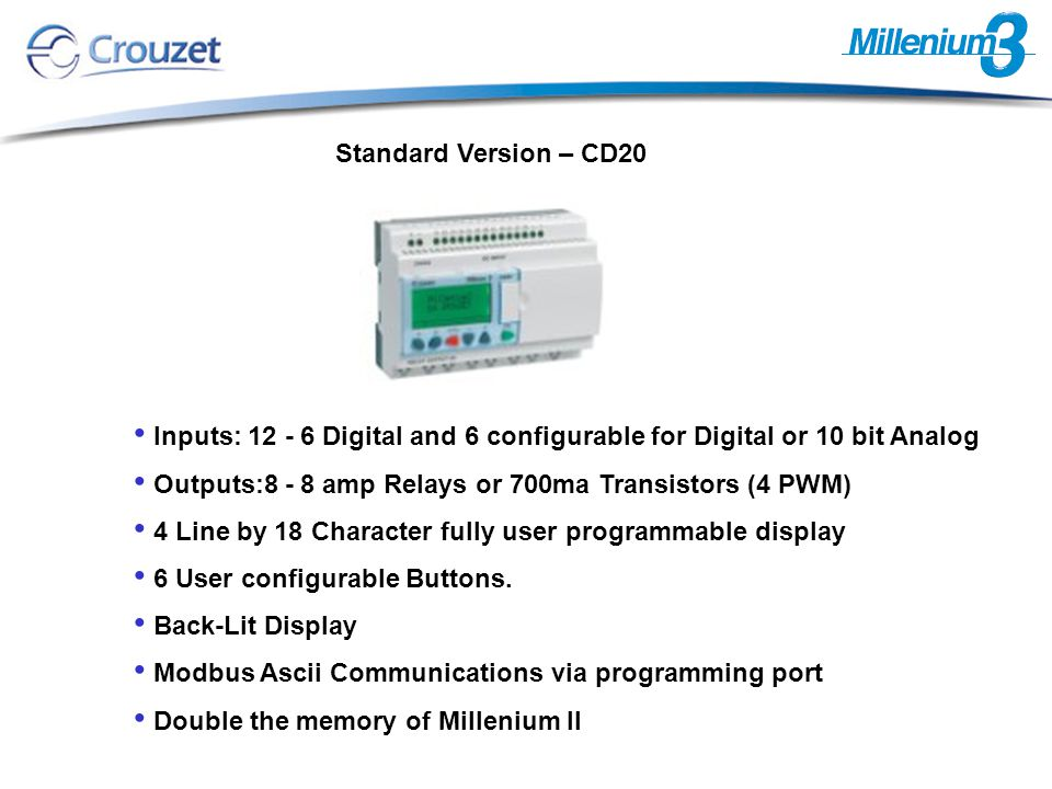 Millenium 3 offers the largest display available on micro-PLC's.
