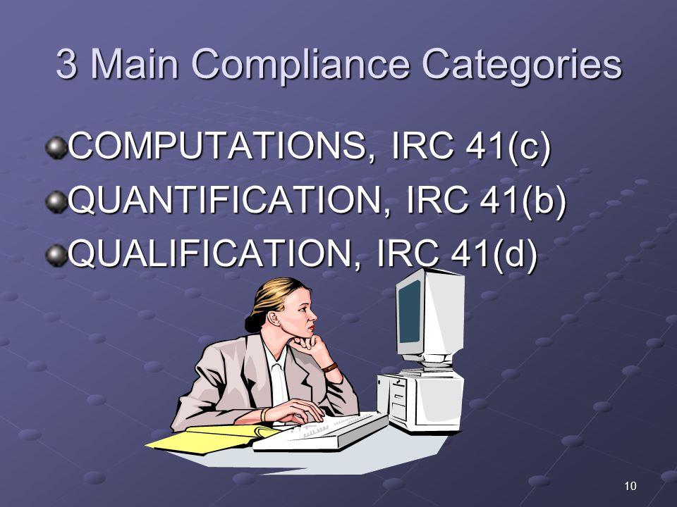 10 3 Main Compliance Categories COMPUTATIONS, IRC 41(c) QUANTIFICATION, IRC 41(b) QUALIFICATION, IRC 41(d)