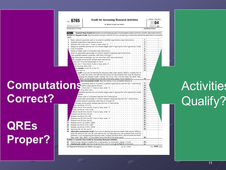 11 Computations Correct? QREs Proper? Activities Qualify?