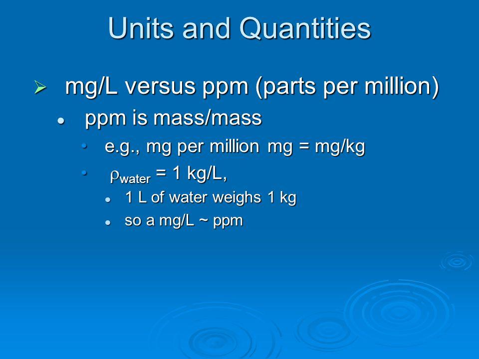 Units and Quantities  mg/L versus ppm (parts per million) ppm is mass/mass ppm is mass/mass e.g., mg per million mg = mg/kge.g., mg per million mg = mg/kg  water = 1 kg/L,  water = 1 kg/L, 1 L of water weighs 1 kg 1 L of water weighs 1 kg so a mg/L ~ ppm so a mg/L ~ ppm