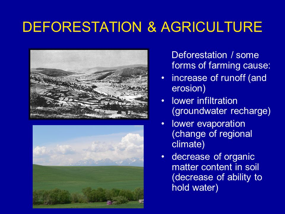 DEFORESTATION & AGRICULTURE Deforestation / some forms of farming cause: increase of runoff (and erosion) lower infiltration (groundwater recharge) lower evaporation (change of regional climate) decrease of organic matter content in soil (decrease of ability to hold water)