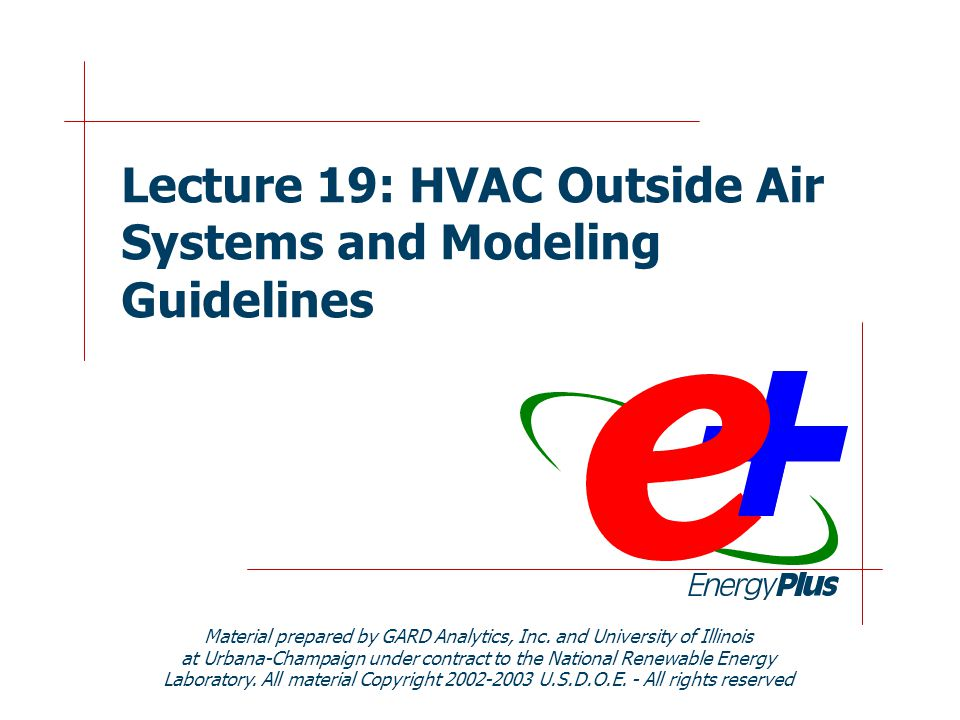 2 Purpose of this Lecture  Discuss Outside Air IAQ requirements force us to draw fresh air in from the outside environment Outside air (OA) can have a significant impact on the building energy requirements  Show how OA is specified in EnergyPlus