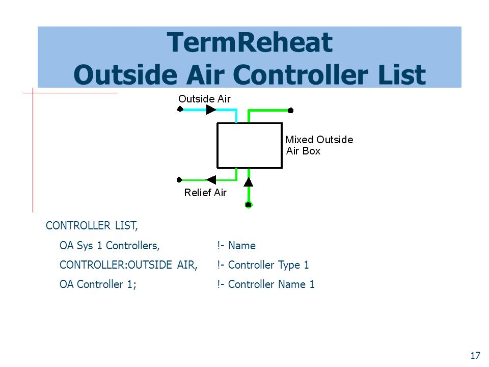 17 TermReheat Outside Air Controller List CONTROLLER LIST, OA Sys 1 Controllers, !- Name CONTROLLER:OUTSIDE AIR, !- Controller Type 1 OA Controller 1; !- Controller Name 1