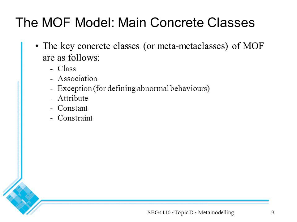 SEG4110 - Topic D - Metamodelling20 Use Case Diagrams Metamodel
