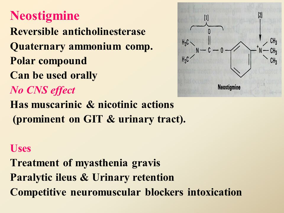 Physostigmine Reversible anticholinesterase Tertiary ammonium compound Non polar (lipid soluble) Good lipid solubility Good oral absorption Has muscar