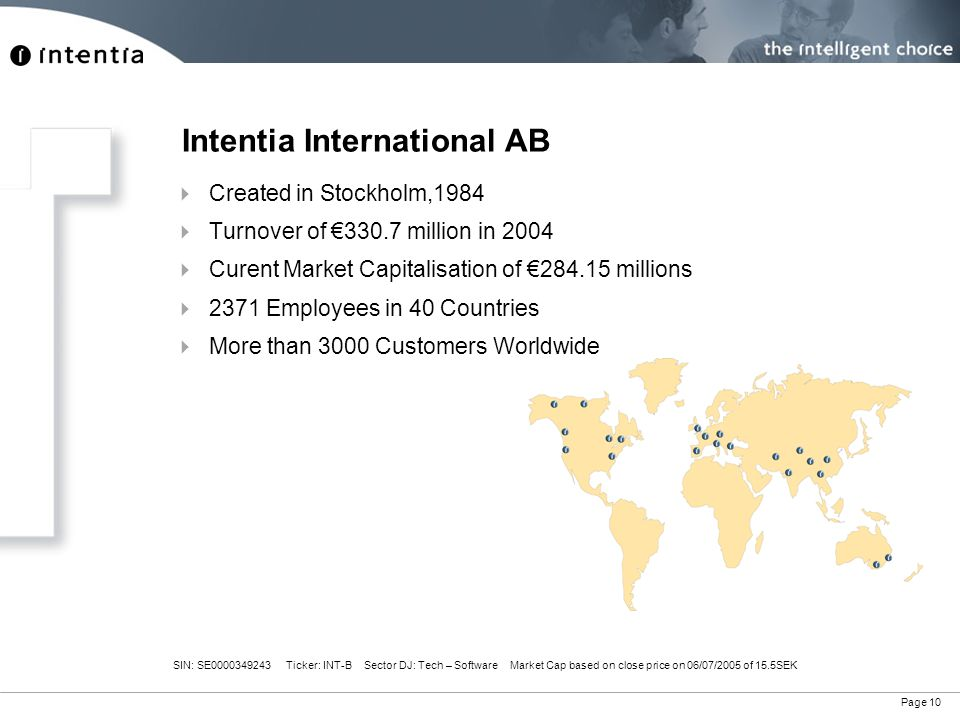 Page 10 Intentia International AB  Created in Stockholm,1984  Turnover of €330.7 million in 2004  Curent Market Capitalisation of €284.15 millions  2371 Employees in 40 Countries  More than 3000 Customers Worldwide SIN: SE0000349243 Ticker: INT-B Sector DJ: Tech – Software Market Cap based on close price on 06/07/2005 of 15.5SEK