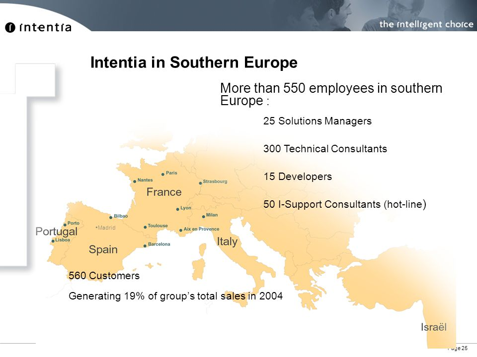 Page 25 More than 550 employees in southern Europe : Generating 19% of group's total sales in 2004 560 Customers 25 Solutions Managers 300 Technical Consultants 15 Developers 50 I-Support Consultants (hot-line ) Madrid Intentia in Southern Europe