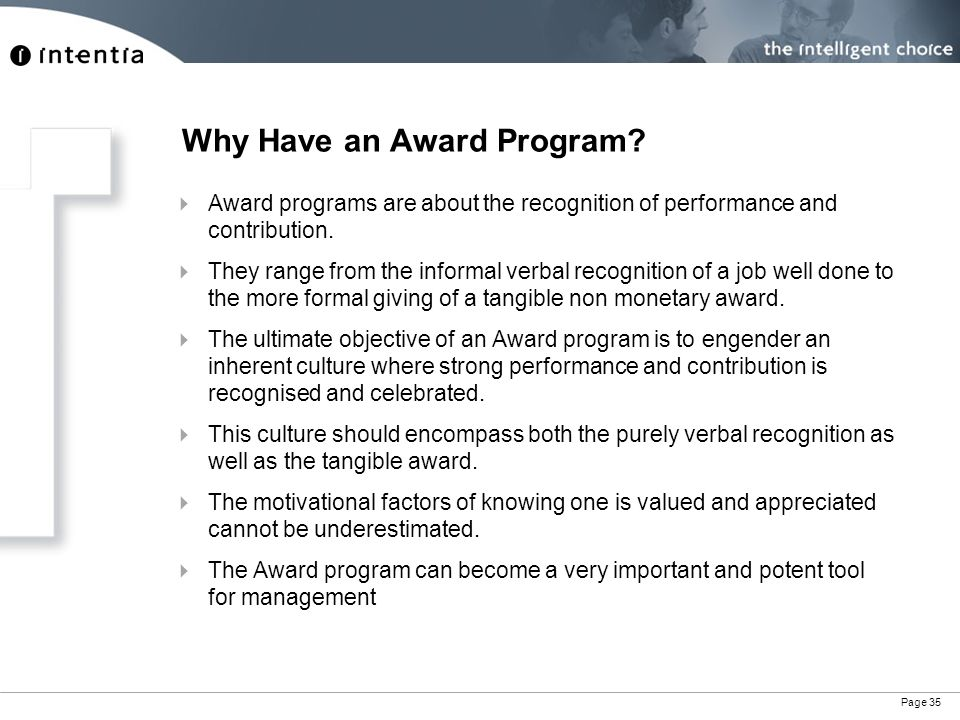 Page 35 Why Have an Award Program.