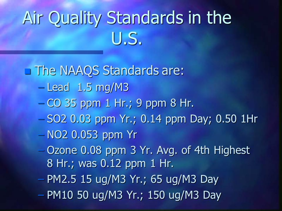 Air Quality Standards in the U.S.
