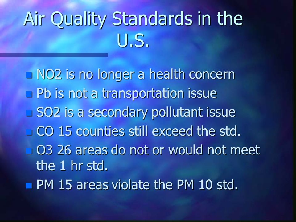 Air Quality Standards in the U.S. n NO2 is no longer a health concern n Pb is not a transportation issue n SO2 is a secondary pollutant issue n CO 15