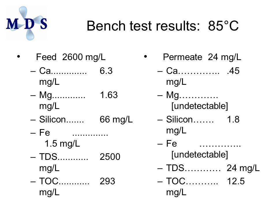 Bench test results: 85°C Feed 2600 mg/L –Ca..............6.3 mg/L –Mg.............1.63 mg/L –Silicon.......66 mg/L –Fe.............. 1.5 mg/L –TDS....