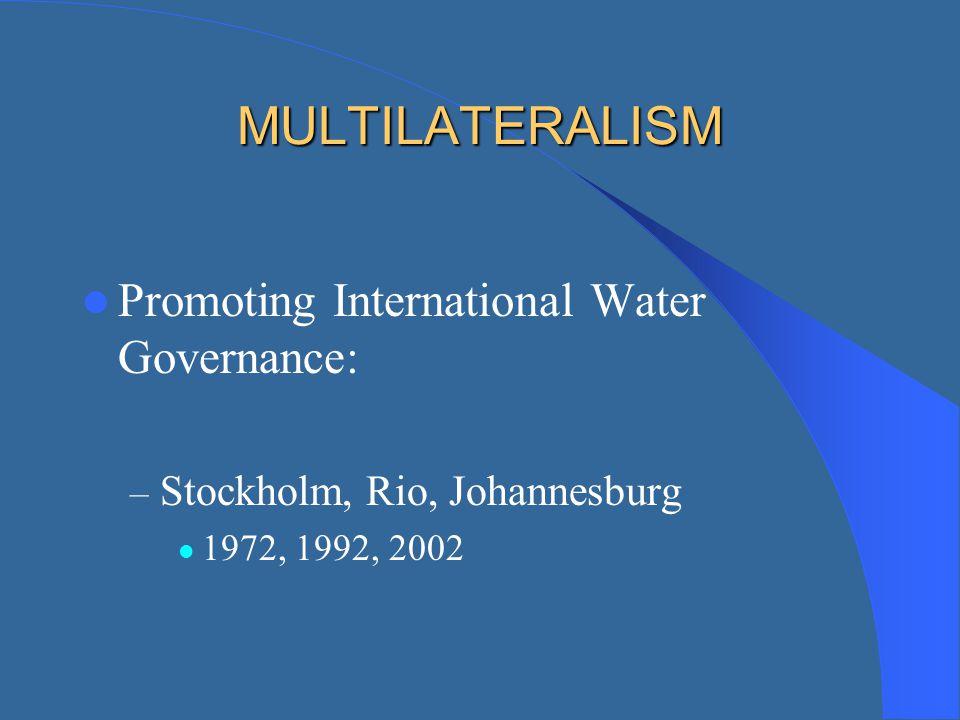 MULTILATERALISM Promoting International Water Governance: – Stockholm, Rio, Johannesburg 1972, 1992, 2002