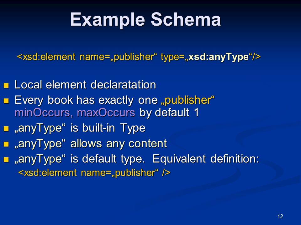 "12 Example Schema Local element declaratation Local element declaratation Every book has exactly one ""publisher"" minOccurs, maxOccurs by default 1 Eve"