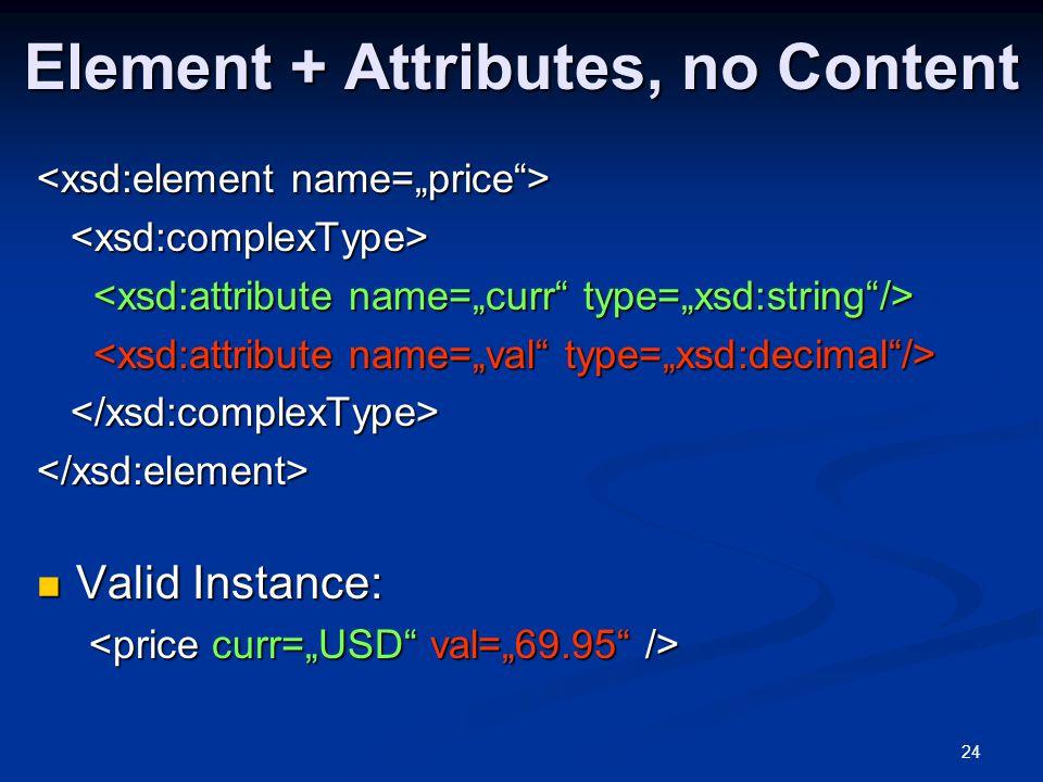 24 Element + Attributes, no Content </xsd:element> Valid Instance: Valid Instance: