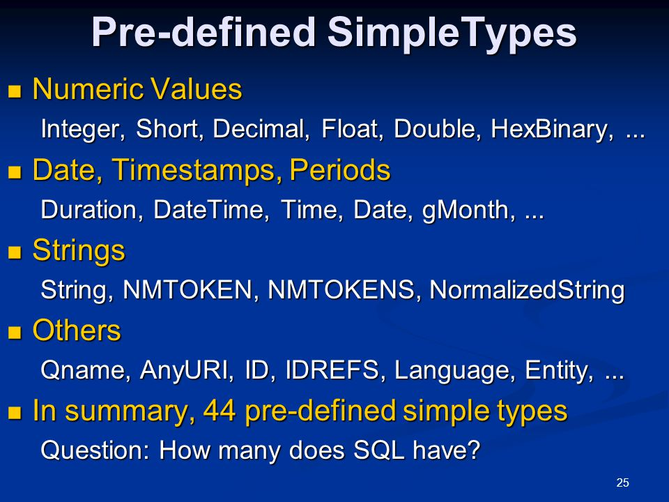 25 Pre-defined SimpleTypes Numeric Values Numeric Values Integer, Short, Decimal, Float, Double, HexBinary,... Date, Timestamps, Periods Date, Timesta
