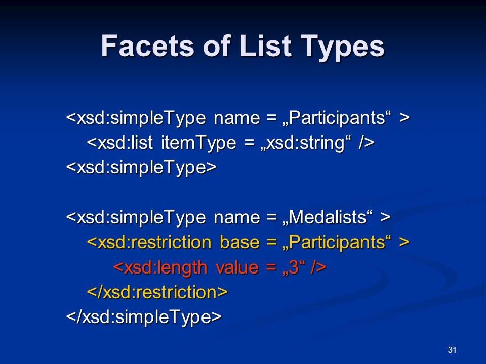 31 Facets of List Types <xsd:simpleType> </xsd:simpleType>