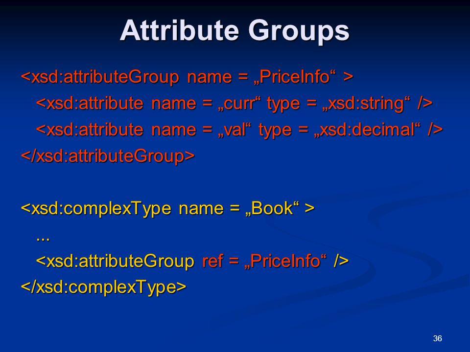 36 Attribute Groups </xsd:attributeGroup>...... </xsd:complexType>