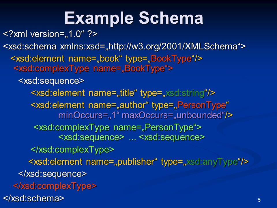5 Example Schema...... </xsd:complexType> </xsd:schema>