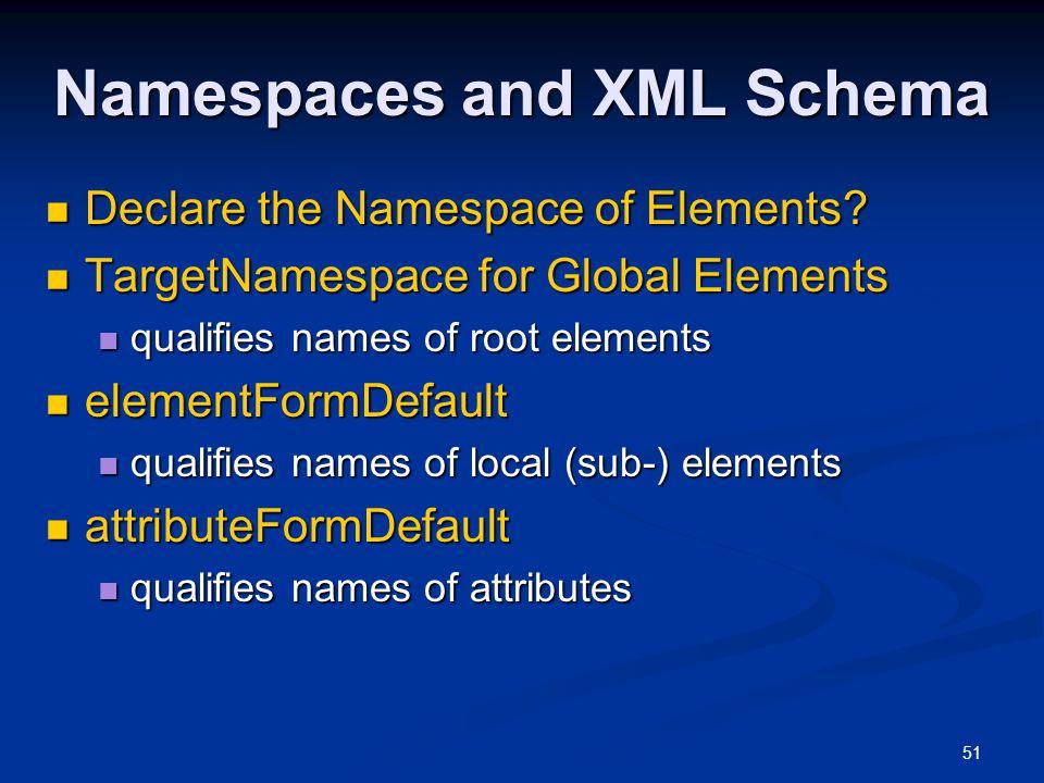 51 Namespaces and XML Schema Declare the Namespace of Elements? Declare the Namespace of Elements? TargetNamespace for Global Elements TargetNamespace